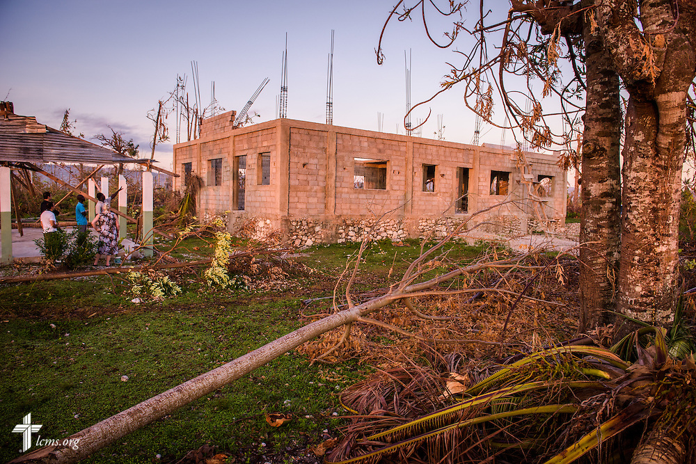 Debris from Hurricane Matthew frames a damaged Lutheran parish, part of The Evangelical Lutheran Church in Haiti, on Wednesday, Oct. 12, 2016, in a rural area of Les Cayes, Haiti. LCMS Communications/Erik M. Lunsford