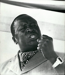 1968 - Idi Amin Uganda (OAU Information Ministers meeting): Idi Amin Dada, President of Uganda. His official titles are Life President Al Hajji Dr. Idi Amin Dada, VC, DSO, MS, Conqueror of the British Empire, Head of State and Commander-in-Chief of the Armed Forces. Here addressing OAU meeting. Credits: Camerapix (Credit Image: © Keystone Pictures USA/ZUMAPRESS.com)