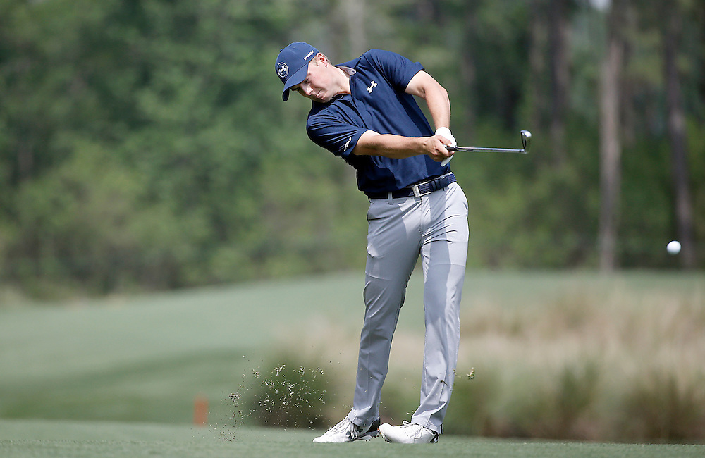 Jordan Spieth hits an approach shot on the fourth fairway in the Shell Houston Open-Round 1 at the Golf Club of Houston on Wednesday, March 31, 2016 in Humble, TX. (Photo: Thomas B. Shea/For the Chronicle)