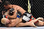 "ATLANTA, GEORGIA, SEPTEMBER 6, 2008: Roan Carneiro (top) tries to keep Ryo Chonan pinned down during ""UFC 88: Breakthrough"" inside Philips Arena in Atlanta, Georgia on September 6, 2008"