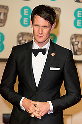 © Licensed to London News Pictures. 14/02/2016. London, UK.  MATT SMITH arrives on the carpet for the EE British Academy Film Awards 2016 after party held at Grosvenor House . London, UK. Photo credit: Ray Tang/LNPPhoto credit: Ray Tang/LNP