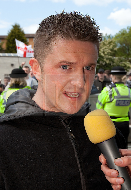© licensed to London News Pictures. FILE PICTURE OF STEPHEN LENNON AT AN EDL RALLY IN DEWSBURY, DATED 11/06/2011. UK 24/04/2012. Campaigning organisation Hope Not Hate report that EDL leader Stephen Yaxley Lennon (aka Tommy Robinson) is to be appointed deputy leader of the British Freedom Party. Please see special instructions for usage rates. Photo credit should read Joel Goodman/LNP