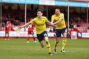 Oxford midfielder Callum O'Dowda scores  to make it 1-2 to Oxford and celebrates during the Sky Bet League 2 match between Crawley Town and Oxford United at the Checkatrade.com Stadium, Crawley, England on 9 April 2016. Photo by David Charbit.