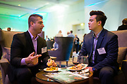 Adam Fauvre (left) and Jon Nowakowski of Robert Half socialize during the Silicon Valley Business Journal's Annual Silicon Valley Structures Awards event at the Fairmont San Jose in San Jose, California, on September 21, 2017. (Stan Olszewski for Silicon Valley Business Journal)