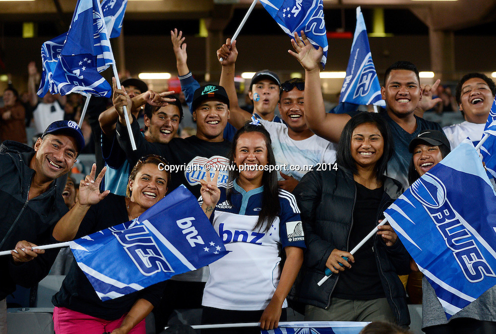 Blues fans show their support. Blues v Cheetahs. Investec Super Rugby Season. Eden Park, Auckland, New Zealand. Saturday 22 March 2014. Photo: Andrew Cornaga/Photosport.co.nz