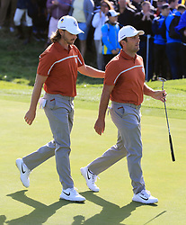 Team Europe's Tommy Fleetwood (left) and Francesco Molinari during the Foursomes match on day two of the Ryder Cup at Le Golf National, Saint-Quentin-en-Yvelines, Paris. PRESS ASSOCIATION Photo. Picture date: Saturday September 29, 2018. See PA story GOLF Ryder. Photo credit should read: Gareth Fuller/PA Wire. RESTRICTIONS: Use subject to restrictions. Written editorial use only. No commercial use.