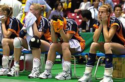 21-06-2000 JAP: OKT Volleybal 2000, Tokyo<br /> Nederland - Croatie 2-3 / Erna Brinkman, Riette Fledderus, Henriette Weersing