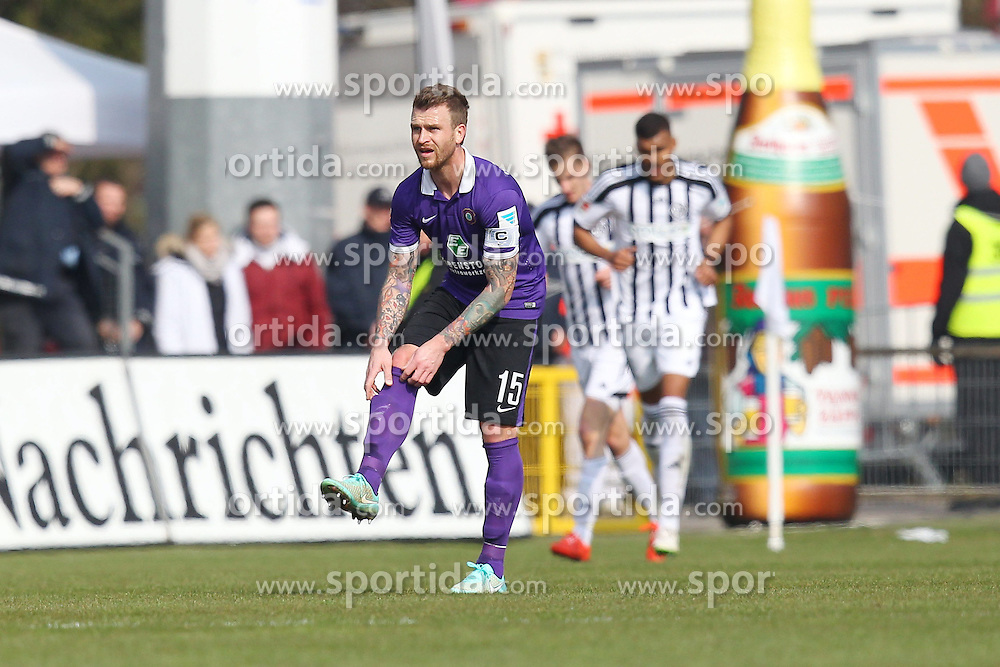 15.03.2015, Esprit-Arena, Aalen, GER, 2. FBL, VfR Aalen vs FC Erzgebirge Aue, 25. Runde, im Bild Rene Klingbeil ( FC Erzgebirge Aue ) nach dem 1:0 // during the 2nd German Bundesliga 25th round match between VfR Aalen and FC Erzgebirge Aue at the Esprit-Arena in Aalen, Germany on 2015/03/15. EXPA Pictures &copy; 2015, PhotoCredit: EXPA/ Eibner-Pressefoto/ Langer<br /> <br /> *****ATTENTION - OUT of GER*****