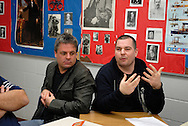 Two men (Ken Lewenza Jr. on left) speak during a workshop exercise at session two of the Making Waves Windsor Essex Assembly on November 23, 2013 at Holy Names High School.