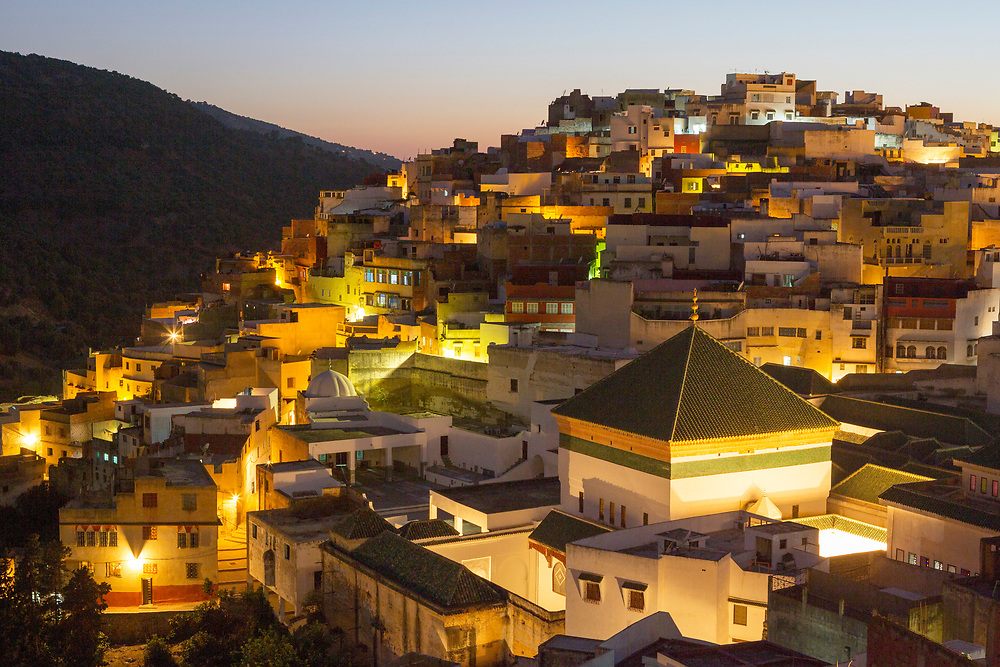 View over the Medina of Moulay Idriss Zerhoun at night, Middle Atlas, Morocco, 2015-09-19.