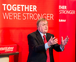 Former Deputy Primie Minister Lord Prescott gives a speech at a campaign event in Kirkcaldy.<br /> © Dave Johnston/ EEm