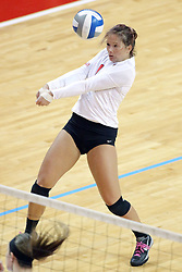 17 October 2014:   during an NCAA Missouri Valley Conference (MVC) womens volleyball match between the Northern Iowa Panthers and the Illinois State Redbirds for 1st place in the conference at Redbird Arena in Normal IL