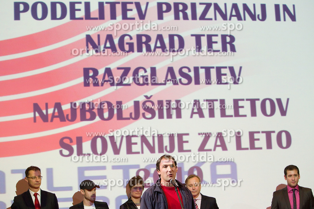 Primoz Kozmus addresses the crowd during the Slovenia's Athlete of the year award ceremony by Slovenian Athletics Federation AZS, on November 12, 2008 in Hotel Mons, Ljubljana, Slovenia.(Photo By Vid Ponikvar / Sportida.com) , on November 12, 2010.