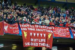 MADRID, SPAIN - Wednesday, October 22, 2008: Liverpool supporters and a Beatles inspired banner 'I Know I'll Often Stop and Think About Them, In My Life I've Loved Them All' during the UEFA Champions League Group D match against Club Atletico de Madrid at the Vicente Calderon. (Photo by David Rawcliffe/Propaganda)