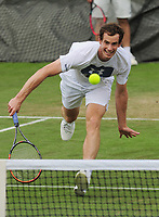Tennis - 2017 Wimbledon Championships -<br /> Training sessions<br /> <br /> Andy Murray [GBR] training in Aorangi Park<br /> <br /> COLORSPORT/ANDREW COWIE