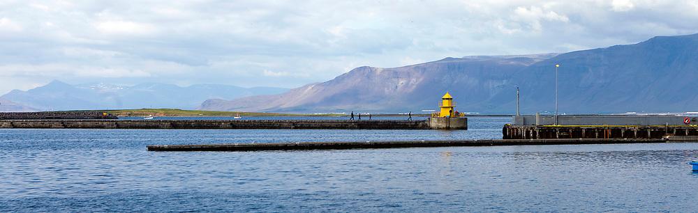 Lighthouse of the Reykjavik harvour, Iceland.