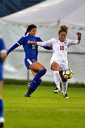 NORMAL, IL - October 17:  Ashley Santos during an NCAA Missouri Valley Conference (MVC)  women's soccer match between the Indiana State Sycamores and the Illinois State Redbirds October 17 2018 on Adelaide Street Field in Normal IL (Photo by Alan Look)