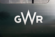 Close up of GWR logo on side of train carriage, Great Western Railway, UK