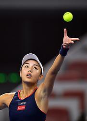 BEIJING, Oct. 6, 2018  Wang Qiang of China serves during the women's singles quarterfinal match against Aryna Sabalenka of Belarus at China Open tennis tournament in Beijing, China, Oct. 5, 2018. Wang Qiang won 2-0. (Credit Image: © Xinhua via ZUMA Wire)