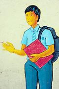 Painting of school children on a school wall. near Sugathadasa staidium, Kotahena, Colombo.