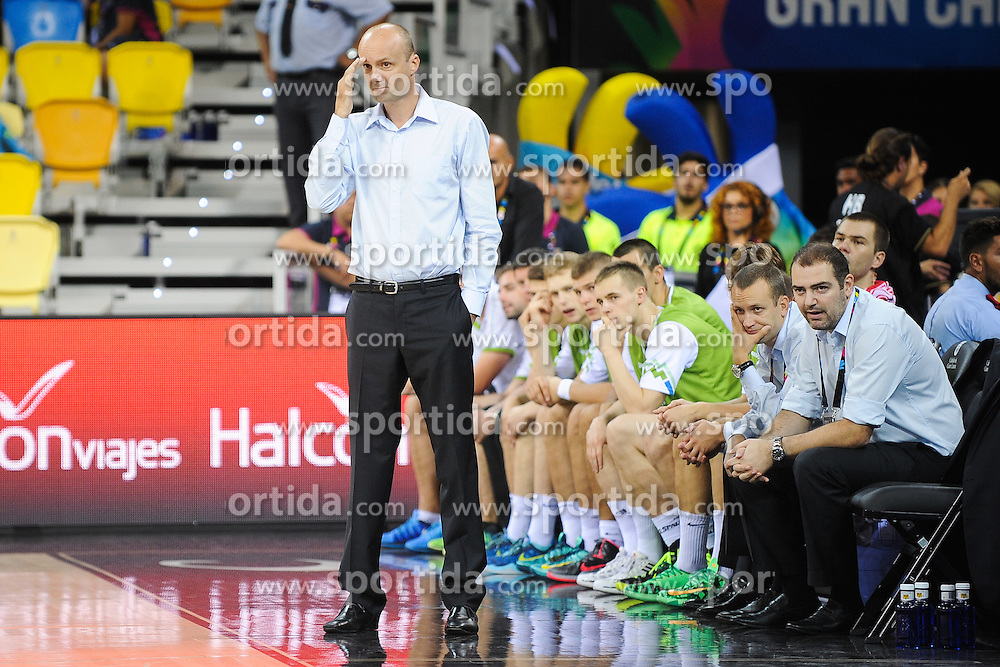 Jure Zdovc, head coach of Slovenia, Gasper Potocnik, assistant coach of Slovenia and Stefanos Dedas, assistant coach of  of Slovenia during basketball match between National Teams of Slovenia and Australia in Round 1 of Group D of FIBA Basketball World Cup Spain 2014, on August 30, 2014 in Gran Canaria Arena, Las Palmas, Canary Islands. Photo by Tom Luksys  / Sportida.com <br /> ONLY FOR Slovenia, France