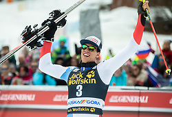 Winner ZENHAEUSERN Ramon of Switzerland  celebrates after the Audi FIS Alpine Ski World Cup Men's Slalom 58th Vitranc Cup 2019 on March 10, 2019 in Podkoren, Kranjska Gora, Slovenia. Photo by Matic Ritonja / Sportida