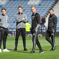 Peter Pawlett, Kenny McLean, Mark Reynolds and Derek McInnes before the match between Hibs v Aberdeen, William Hill Scottish Semi Final, Hampden, Saturday 22 April 2017  (c) Angie Isac | SportPix.org.uk