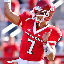 Sep 19, 2009; Piscataway, NJ, USA;  Rutgers quarterback Tom Savage (7) throws a pass during warmups before the first half of NCAA college football between Rutgers and Florida International at Rutgers Stadium.