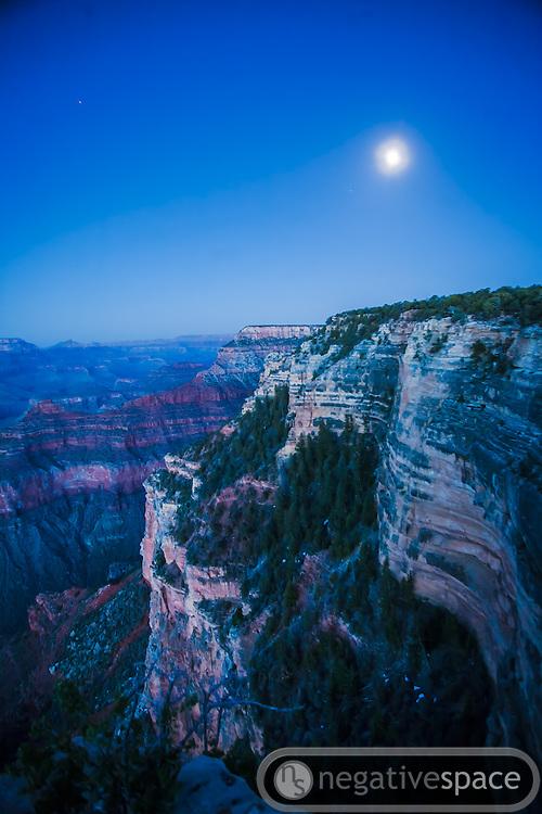 Moonrise over the canyon, Grand Canyon South Rim, Arizona
