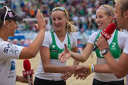 "22.07.2012, Klagenfurt, Strandbad, AUT, Beachvolleyball World Tour Grand Slam 2012, im Bild Ekaterina KHOMYAKOVA 1 RUS / Evgenia UKOLOVA 2 RUS // during the A1 Beachvolleyball Grand Slam 2012 at the ""Strandbad"" Klagenfurt, Austria on 2012/07/22. EXPA Pictures © 2012, EXPA Pictures © 2012, PhotoCredit: EXPA/ Mag. Gert Steinthaler"