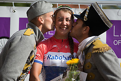 Anouska Koster (NED) of Rabo-Liv Cycling Team celebrates winning the 117,5 km third stage of the 2016 Ladies' Tour of Norway women's road cycling race on August 13, 2016 between Svinesund, Sweden and Halden, Norway. (Photo by Balint Hamvas/Velofocus)