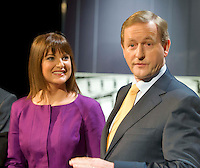 The TG4 debate in Baile na hAbhainn Co. Galway attending were  Party leader Enda Kenny FG moderated by  TG4's Eimear Ní Chonaola. Photo:Andrew Downes. .