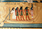 EGYPT, THEBES, WEST BANK funerary boat with Anubis god of dead