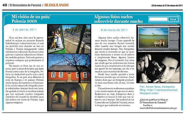 Publicaci&oacute;n en el Periodico EL VENEZOLANO de Panam&aacute;<br /> Ciudad de Panam&aacute; 2011