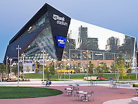 The Commons Park in Minneapolis. The new 4.2 acre public green space is an anchor in the redeveloping Downtown East area of Minneapolis.  Neighboring the park is the new U.S. Bank Stadium and Wells Fargo East Towers.