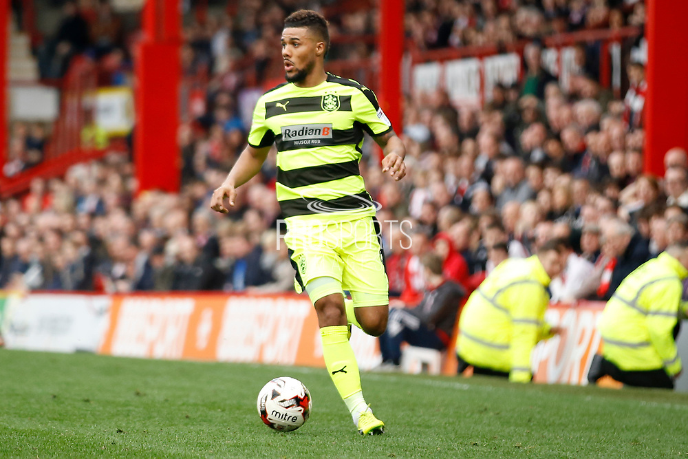 Huddersfield Town striker, on loan from Ingolstadt, Elias Kachunga (9) during the EFL Sky Bet Championship match between Brentford and Huddersfield Town at Griffin Park, London, England on 11 March 2017. Photo by Andy Walter.