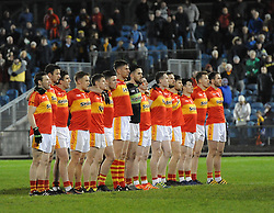 Castlebar Mitchels line-up before the start of the County final.<br />Pic Conor McKeown