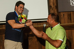 Darko Duric and Grega Gracnar vice president of sport federation for disabled people  during reception of Slovenian paralympic swimmer Darko Duric after getting gold and bronze medal at swimming European Championship, Podbrezje, 22th of August, Slovenia Photo by Grega Valancic / Sportida
