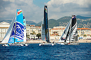 The Wave Muscat, Oman Air and Emirates Team New Zealand. Extreme Sailing Series Practice day in Nice. 1/10/2014