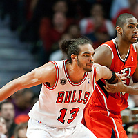 04 May 2011: Chicago Bulls center Joakim Noah (13) defends on Atlanta Hawks center Al Horford (15) during the Chicago Bulls 86-73 victory over the Atlanta Hawks, during game 2 of the Eastern Conference semi finals at the United Center, Chicago, Illinois, USA.