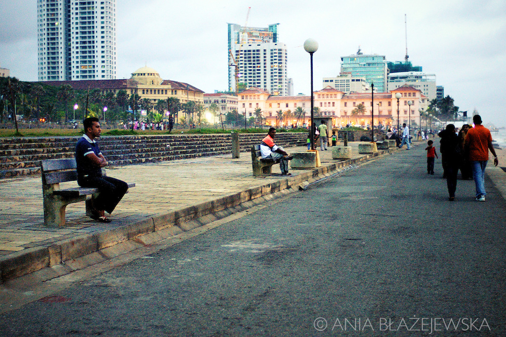 Sri Lanka, Colombo. Relaxing evening on Galle Face Green in the capital of Sri Lanka.