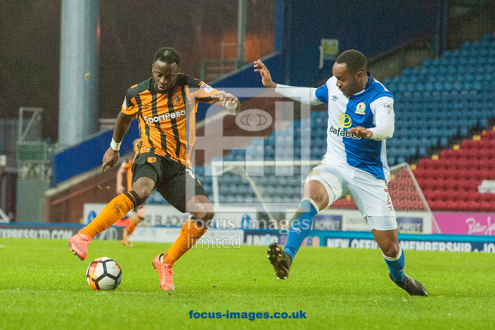 Adama Diomande of Hull City looks to find a way past Ryan Nyambe of Blackburn Rovers during the FA Cup match at Ewood Park, Blackburn<br /> Picture by Matt Wilkinson/Focus Images Ltd 07814 960751<br /> 06/01/2018