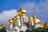 Cathedral Domes, Kremlin, Moscow, Russia