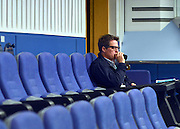 © Licensed to London News Pictures. 09/10/2012. Birmingham, UK  Hugh Grant sits at the rear of the hall in a 'Hacked Off' press conference at The Conservative Party Conference at the ICC today 10th October 2012. Photo credit : Stephen Simpson/LNP