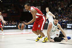 November 9, 2017 - Assago, Milan, Italy - Andrew Goudelock (#0 AX Armani Exchange Milan) drives to the basket during a game of Turkish Airlines EuroLeague basketball between  AX Armani Exchange Milan vs Zalgiris Kaunas at Mediolanum Forum on November 9, 2017 in Milan, Italy. (Credit Image: © Roberto Finizio/NurPhoto via ZUMA Press)