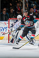 KELOWNA, CANADA - OCTOBER 21: Tomas Soustal #15 of the Kelowna Rockets looks for the pass in front of the Beck Warm #35 of the Tri-City Americans on October 21, 2016 at Prospera Place in Kelowna, British Columbia, Canada.  (Photo by Marissa Baecker/Shoot the Breeze)  *** Local Caption ***