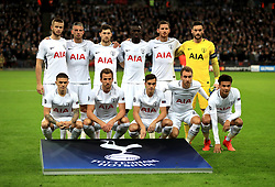Tottenham Hotspur players pose for a team picture before the UEFA Champions League, Group H match at Wembley Stadium, London.