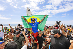 September 15, 2017 - Filipe Toledo of Brazil is chaired up the beach as the 2017 Hurley Pro Trestles CHAMPION after defeating current No.1 on the Jeep Leaderboard Jordy Smith of South Africa in the final at Trestles, CA, USA.  Toledo's win makes him the first competitor to win two events on the 2017 Championship Tour...Hurley Pro at Trestles 2017, California, USA - 15 Sep 2017 (Credit Image: © Rex Shutterstock via ZUMA Press)