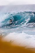 surfer in the barrel..Tamaora mc comb or TJ barron not sure,pipe-line,North-shore Hawaii