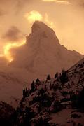 Winter Scenic/ Silhouette of the Matterhorn Mountain at Dusk in Zermatt, Switzerland